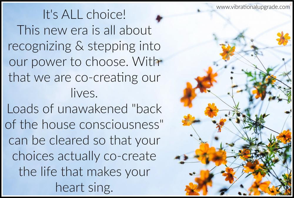 """""""Its all choice! This new era is all about recognizing and stepping into our power to chose. With that we are co-creating our lives. Loads of unawakened 'back of the house consequences' can be cleared so that your choices actually co-create the life that makes your heart ring"""""""
